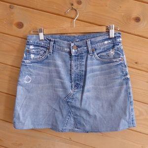 7 for all mankind Blue Mini Denim Skirt 27